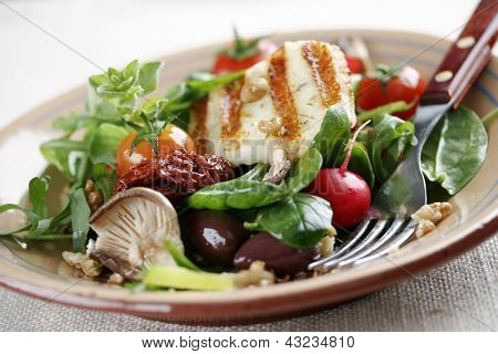 salad with mushrooms,spinach,tomatoes,sundried tomatoes,walnuts,haloumi cheese