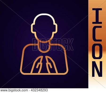 Gold Line Hands In Praying Position Icon Isolated On Black Background. Prayer To God With Faith And