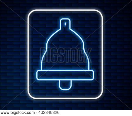 Glowing Neon Line Church Bell Icon Isolated On Brick Wall Background. Alarm Symbol, Service Bell, Ha