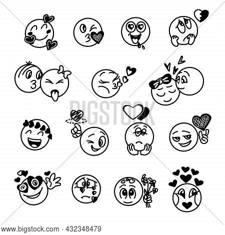 A Set Of Hand-drawn Emoticons With Different Reactions On The Topic Of Love And Relationships For A