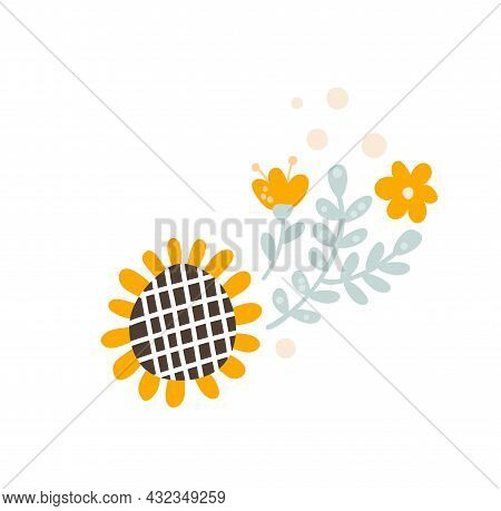 Baby Vector Floral Summer Divider Banner, Pastel Kids Color Sunflower And Wildflowers. Scandinavian
