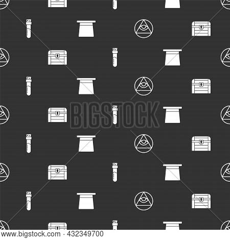 Set Masons, Antique Treasure Chest, Bottle With Potion And Magic Hat On Seamless Pattern. Vector