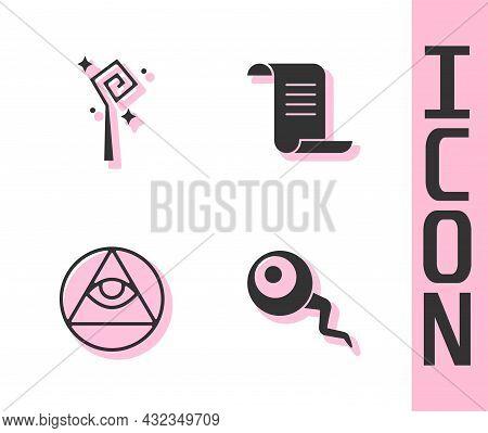 Set Eye, Magic Staff, Masons And Ancient Magic Book Icon. Vector