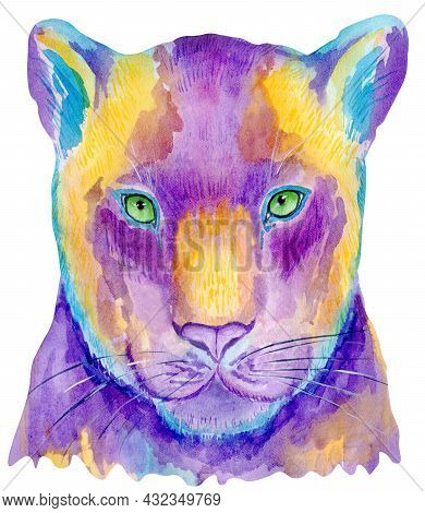 Watercolor Colorful Panther Isolated On White Background. Hand Painting Animals Illustration.
