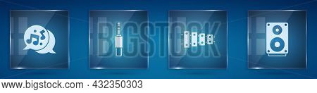 Set Music Note, Tone, Audio Jack, Xylophone And Stereo Speaker. Square Glass Panels. Vector