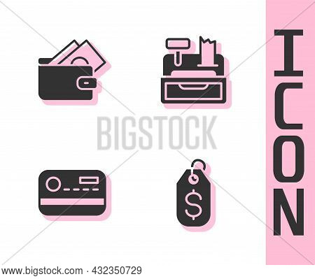 Set Price Tag With Dollar, Wallet Money, Credit Card And Cash Register Machine Icon. Vector