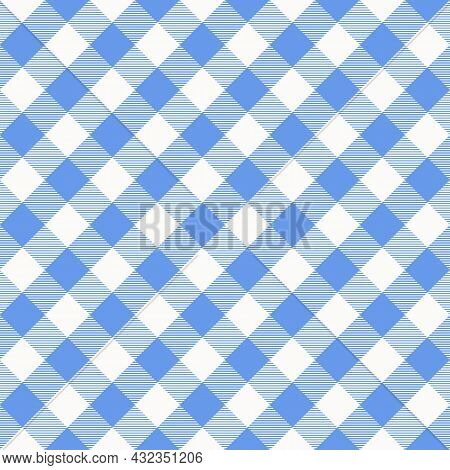Blue And White Scotland Textile Seamless Pattern. Fabric Texture Check Tartan Plaid. Abstract Geomet