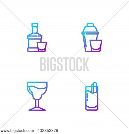 Set Line Cocktail Bloody Mary, Wine Glass, Whiskey Bottle And And Shaker. Gradient Color Icons. Vect