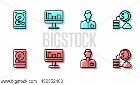 Set Line Analyst Engineer, Hard Disk Drive Hdd, Monitor With Graph Chart And Network Cloud Connectio