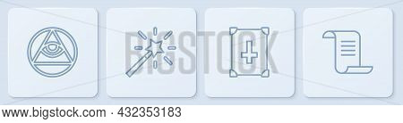 Set Line Masons, Ancient Magic Book, Magic Wand And . White Square Button. Vector