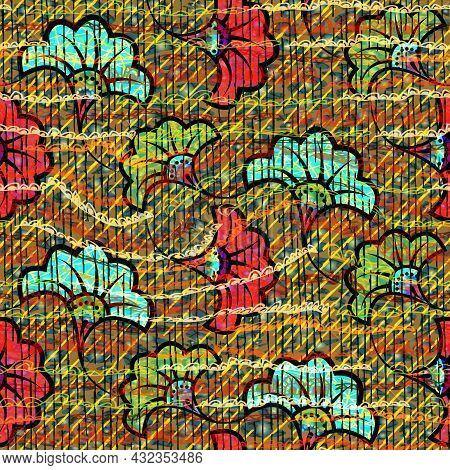 African Wax Print Fabric, Ethnic Handmade Ornament Seamless Design, Tribal Pattern Motifs Floral Ele