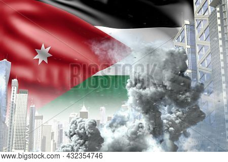 Large Smoke Column In Abstract City - Concept Of Industrial Blast Or Terrorist Act On Jordan Flag Ba