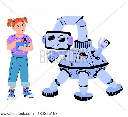 Child Robotics Concept With Child Girl Controlling Robot, Flat Cartoon Vector Illustration Isolated