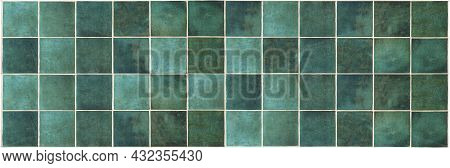 Green Ceramic Tile Background. Old Vintage Ceramic Tiles In Green To Decorate The Kitchen Or Bathroo
