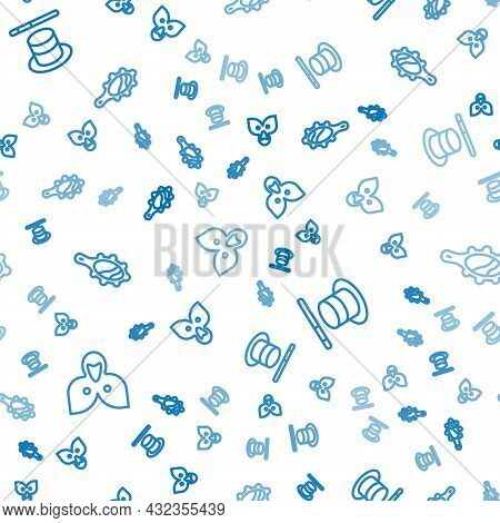 Set Line Mantle, Cloak, Cape, Magic Hat And Wand And Hand Mirror On Seamless Pattern. Vector