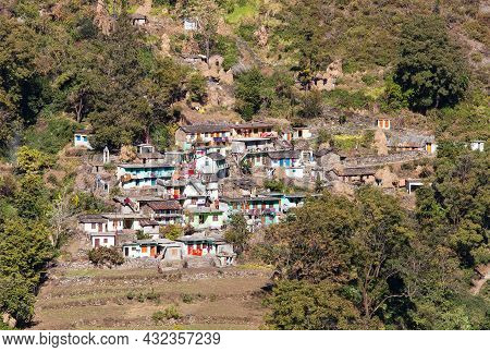Terraced Fields And Village Near Joshimath Town In Uttarakhand India, Indian Himalayas Mountains
