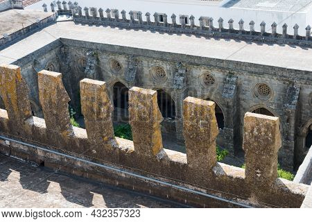 Gothic Cloister Seen From The Roof Of The Cathedral At Evora. Portugal, Europe