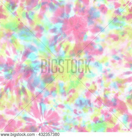 Tie Dye Shibori Seamless Pattern. Watercolor Hand Drawn Pastel Colors Ornamental Elements Background
