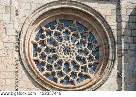 Beautiful Gothic Rosette Of Cathedral At Evora. Portugal, Europe