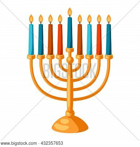 Happy Hanukkah Illustration Of Menorah With Candles. Holiday Icon In Cartoon Style.