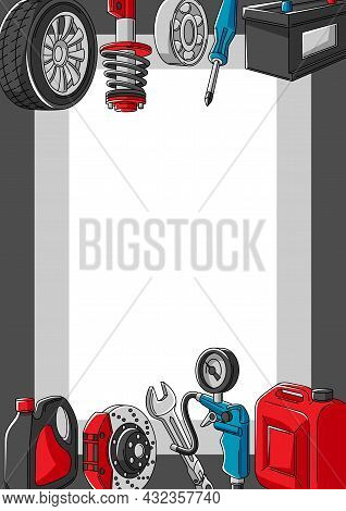 Car Service Illustration. Auto Center Repair Concept For Advertising With Transport Items.