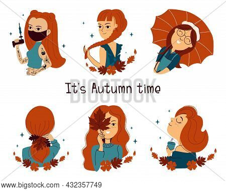 The Set Of Redheads Girls. The Collection Cartoons Women Are Good For Autumn Time Designs, Logo, Sti