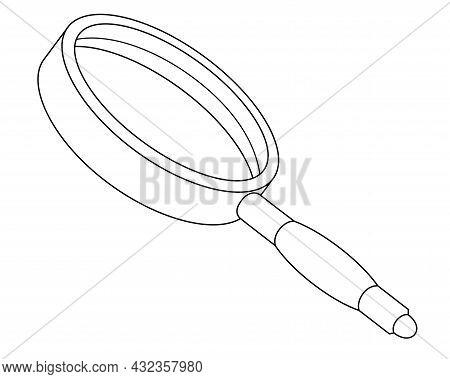 Magnifier, - Magnifying Glass - Vector Linear Illustration For Coloring. Outline. Framed Magnifying