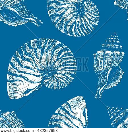 Hand Drawn Marine Outline Seamless Pattern. Atlantic Blue Seashell And Nautilus Shell. Underwater An