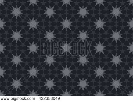 Five-pointed Star Pattern Is Arranged In A Circle. Ten-pointed Star Is In The Middle. Seamless Abstr