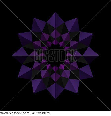 Purple Flower Frame Pattern On A Black Background. 3d Geometric Shapes. Origami Mandala Style. Eleme