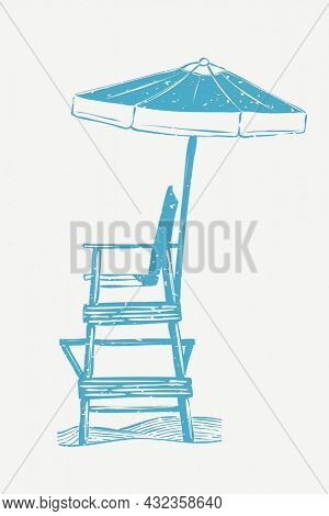 Blue lifeguard chair linocut in cute illustration