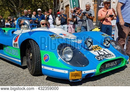 Vif, France, September 2, 2021 : Famous Matra Ms650 During Tour Auto Optic 2000 Third Stage. Veritab