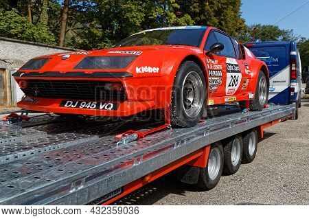 Vif, France, September 2, 2021 : Broken-down Racing Car On A Truck During Tour Auto Third Stage. Ver