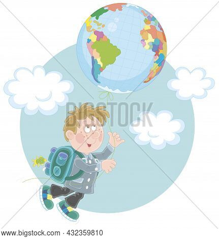 Cheerful Schoolboy With A Flying Balloon In A Form Of A Globe, Vector Cartoon Illustration Isolated