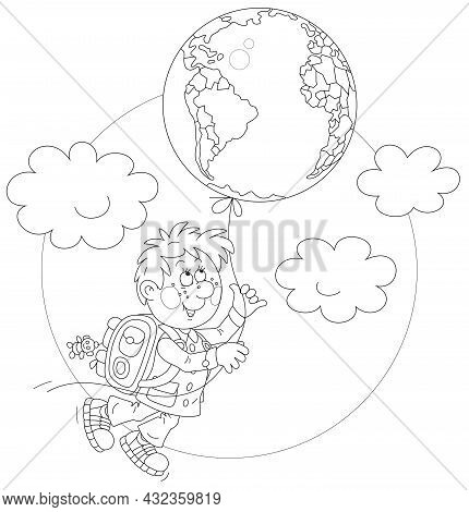 Cheerful Schoolboy With A Flying Balloon In A Form Of A Globe, Black And White Outline Vector Cartoo