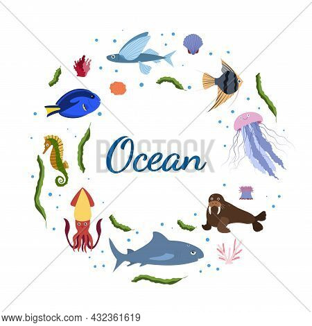 Design Template With Sea Animal In Circle For Kid Print. Round Composition Of Marine Animals, Squid