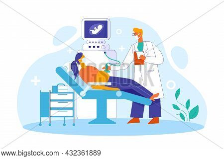 Doctor Doing Ultrasonography On Pregnant Patient Illustration Concept Vector