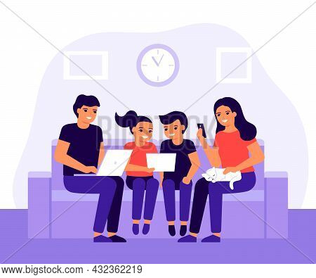 Happy Family Spends Time Together On Couch At Home Using Laptop, Mobile Phone And Digital Tablet. Pa