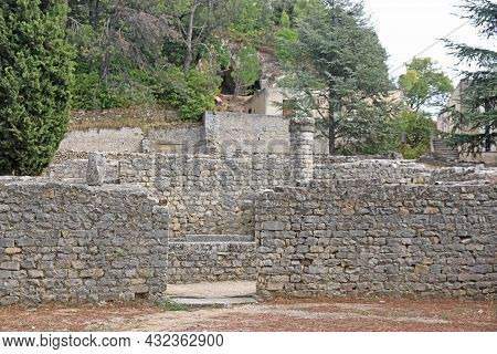 Roman Wall Remains In Vaison-la-romaine In France