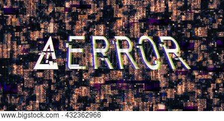 3d Illustration Glitch Effect Computer Danger Symbols Hacked Errors Cyberpunk Design Ideas Digital P