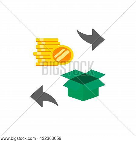 Return Purchase Flat Icon, Exchange Policy, Inverse Delivery In Shop, Store Back Away . Return Polic