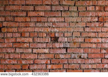 Flat Red Brick Wall Full Frame Background And Texture