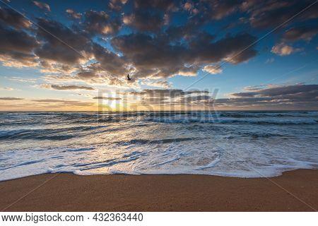 Beach Sunrise Over The Tropical Sea Sand