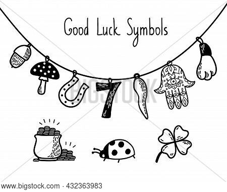 Good Luck Symbols Set. European And Asian Talismans And Charms Contour Vector Illustration. Symbols