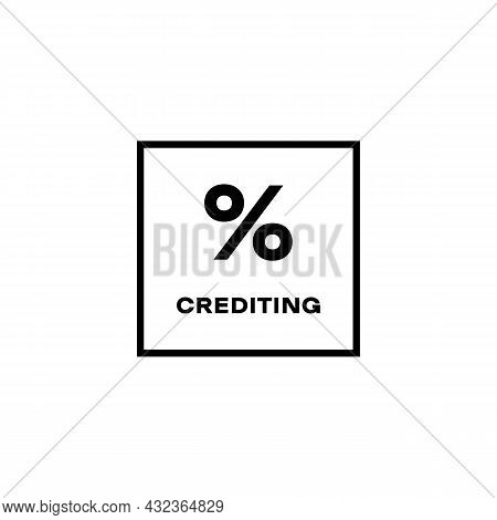 Credit And Loan Processing Black Line Icon. Percentage Crediting Concept. Trendy Flat Isolated Outli