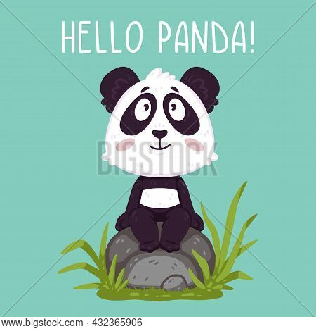 Cute Panda Bear Sitting On The Rock. Kawaii Animal Zoo Vector. Illustration Vector On Pastel Backgro