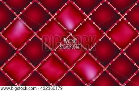 Red Leather Upholstery. Realistic Background With Machine Stitching