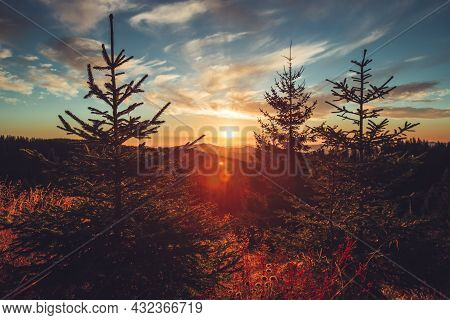 Autumn Morning Over Mountain Hills, Sunrise Shot