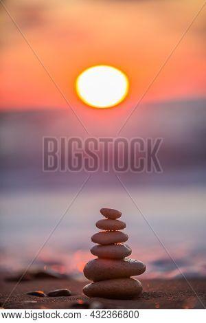 Stones Balance On Beach Sand, Sunrise Shot