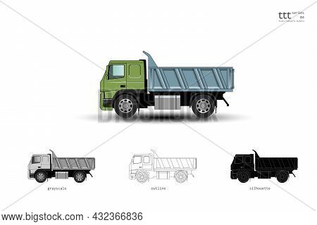 Insulated Colored Truck. Dump Truck. Vector Illustration